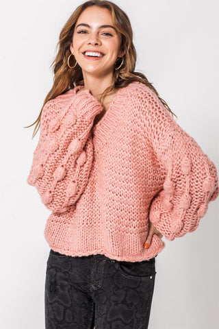 Puff Sleeve V-Neck Sweater