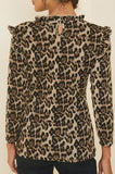 Leopard Ruffle Mock Neck Top