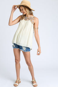 Embroidery Mix Tie Back Tank