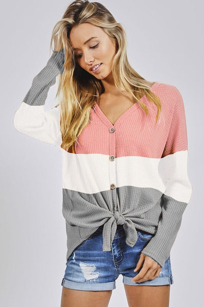Colorblock Thermal Tie Front Tee