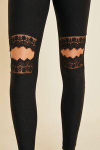 Brushed Lace Cut-Out Legging