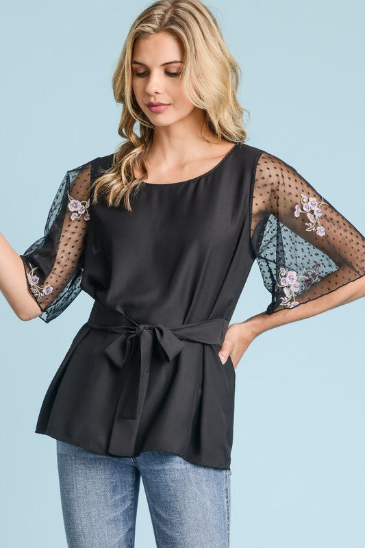 Tie Waist Top with Mesh Sleeves