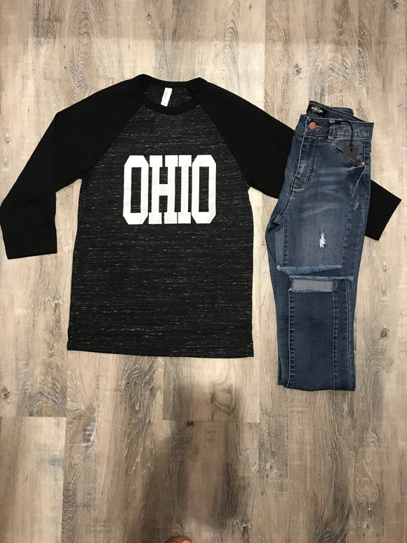 Ohio Marl Black Baseball Tee