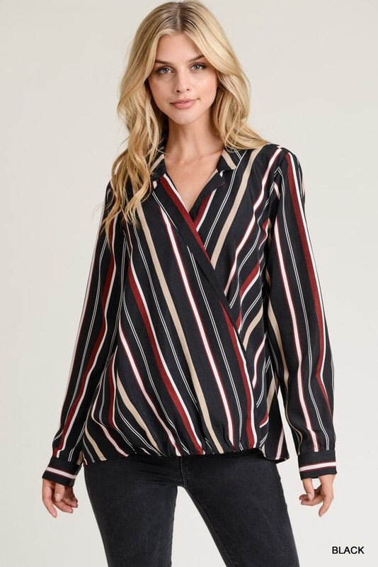 Striped Surplice Collared Top