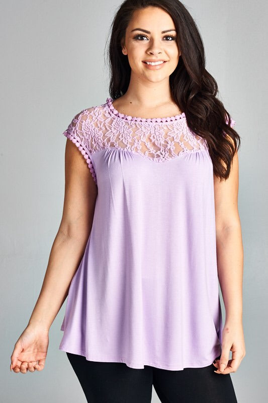 Lilac Short Sleeve Lace Top