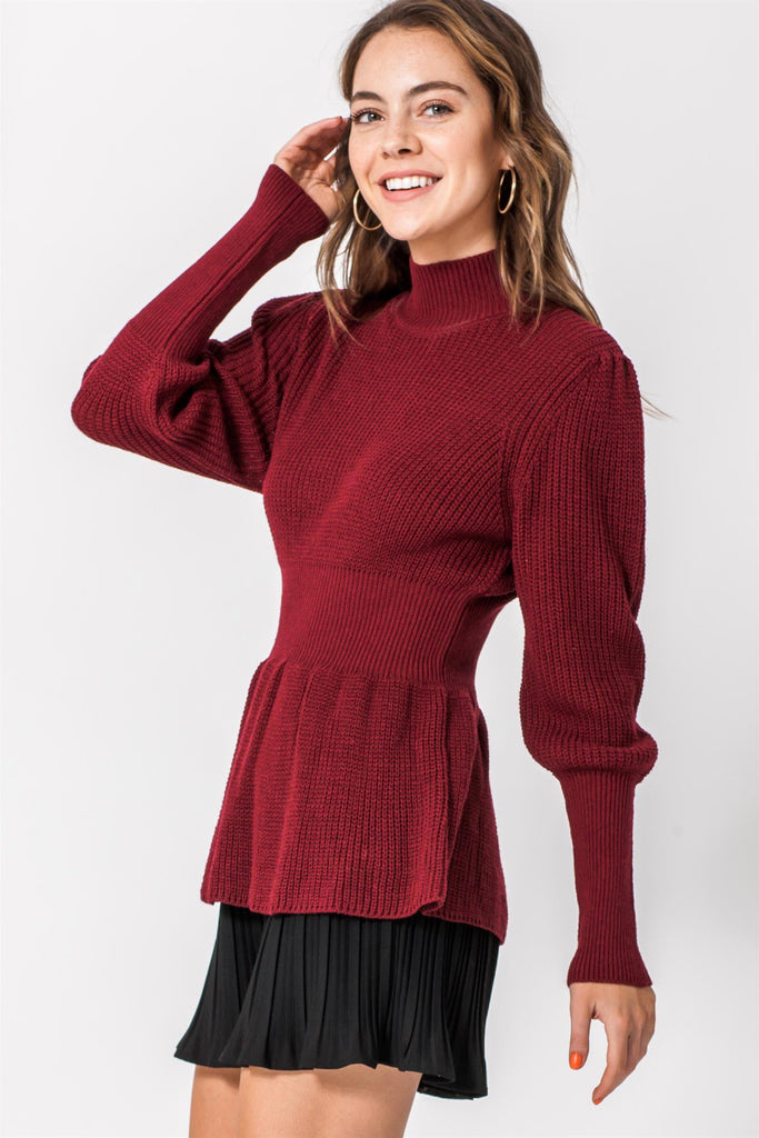 High Neck Peplum Sweater