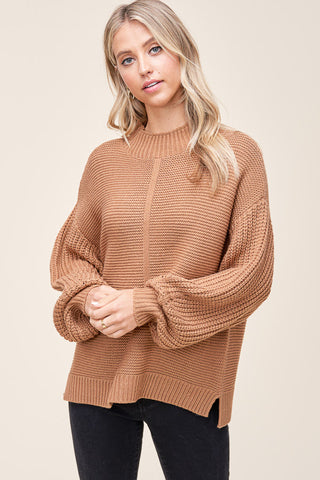 Mock Neck Balloon Sleeve Sweater