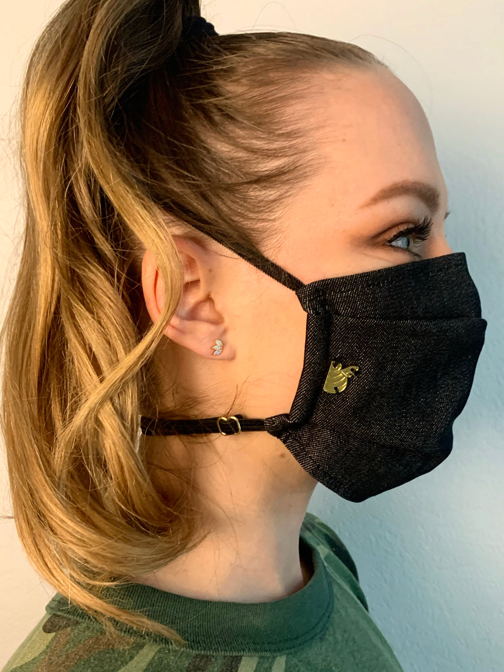 Black Denim Fabric Mask
