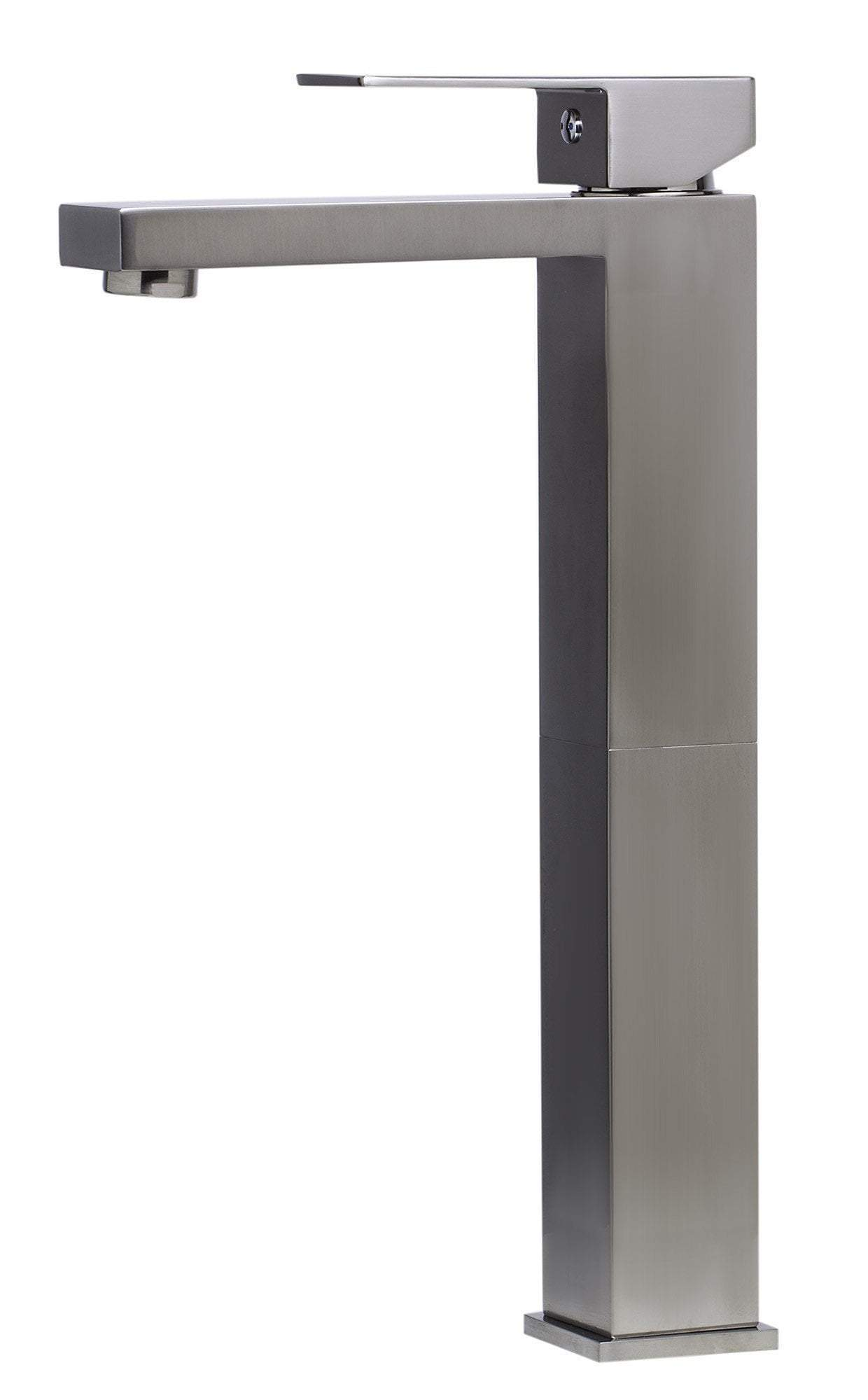 alfi brushed nickel tall square single lever bathroom faucet ab1129 bn