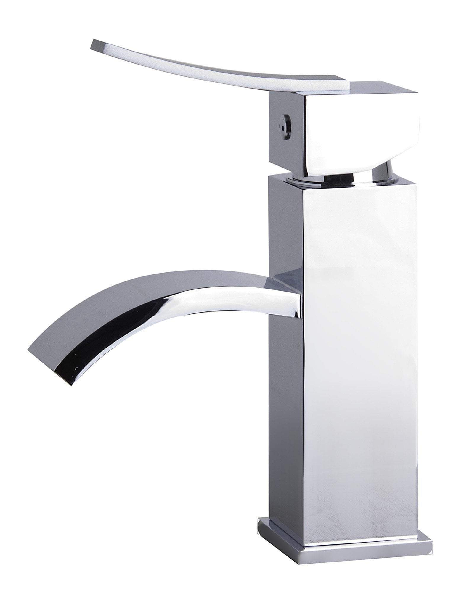 alfi polished chrome square body curved spout single lever bathroom faucet ab1258 pc