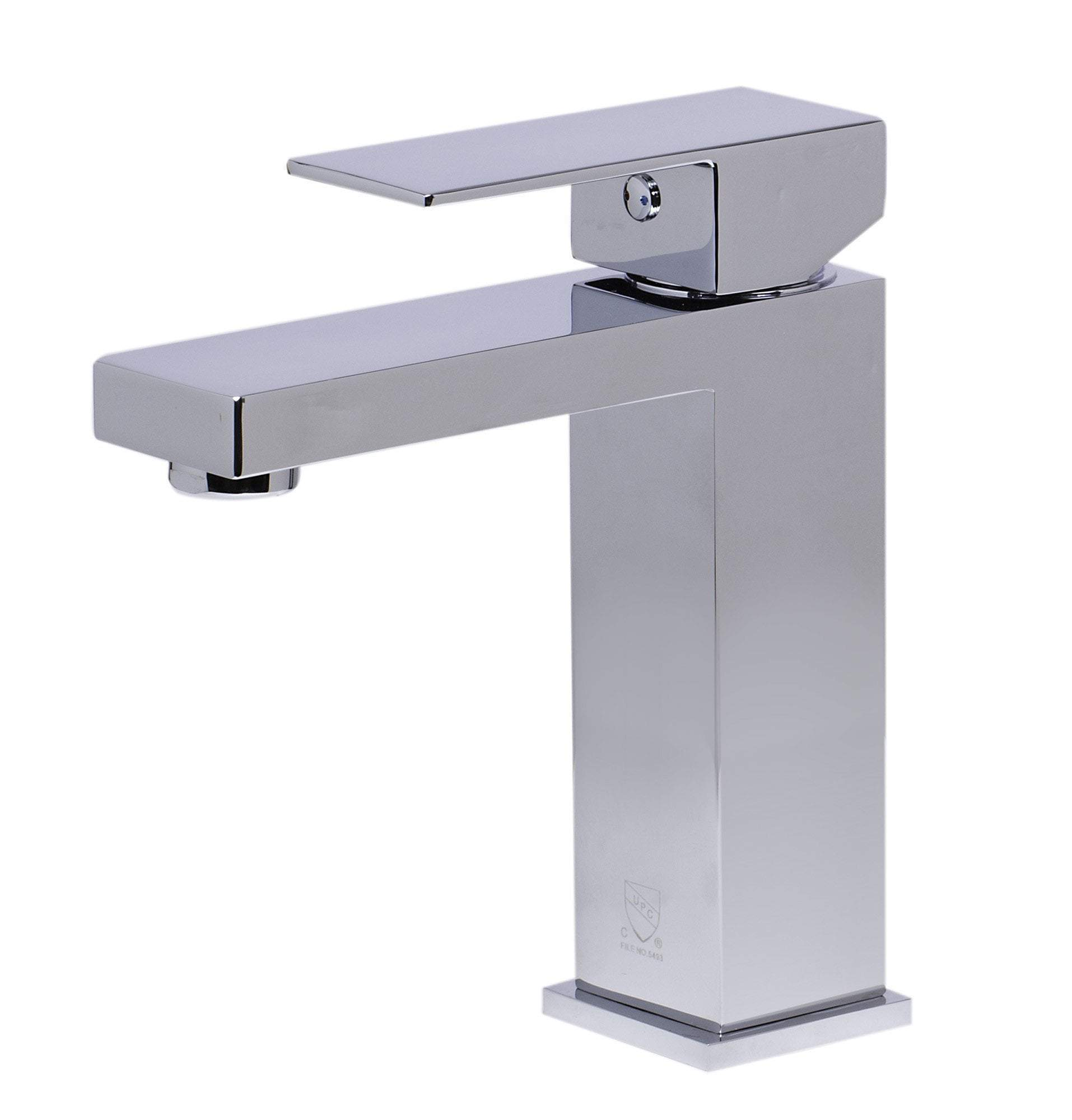 alfi polished chrome square single lever bathroom faucet ab1229 pc