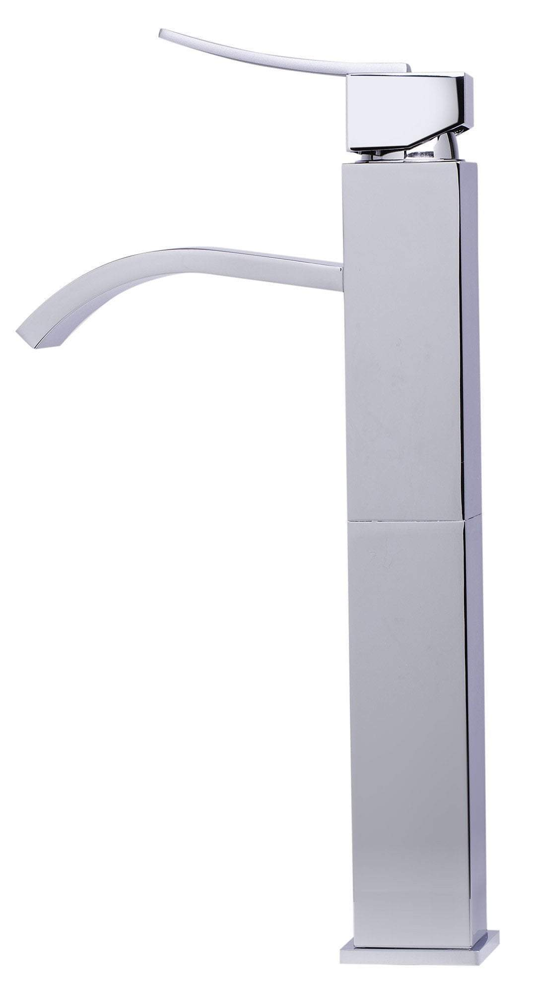 alfi tall polished chrome tall square body curved spout single lever bathroom faucet ab1158 pc