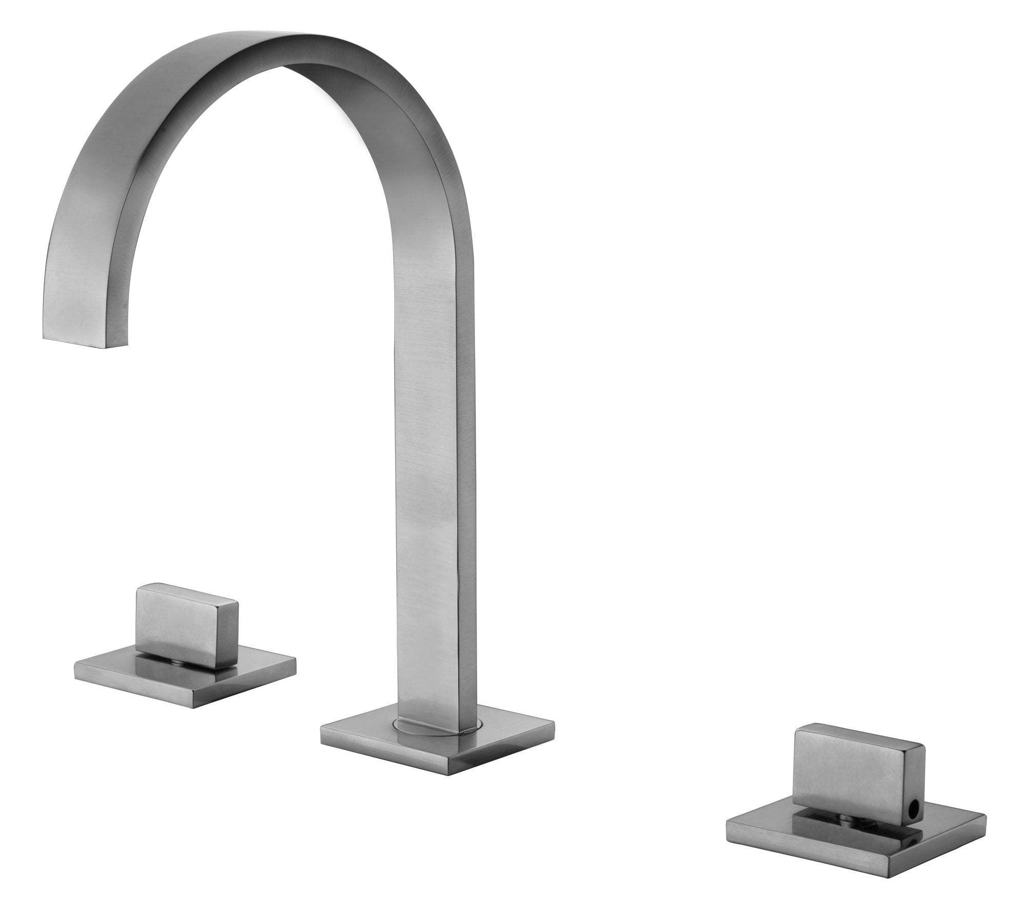Brushed Nickel Gooseneck Widespread Bathroom Faucet
