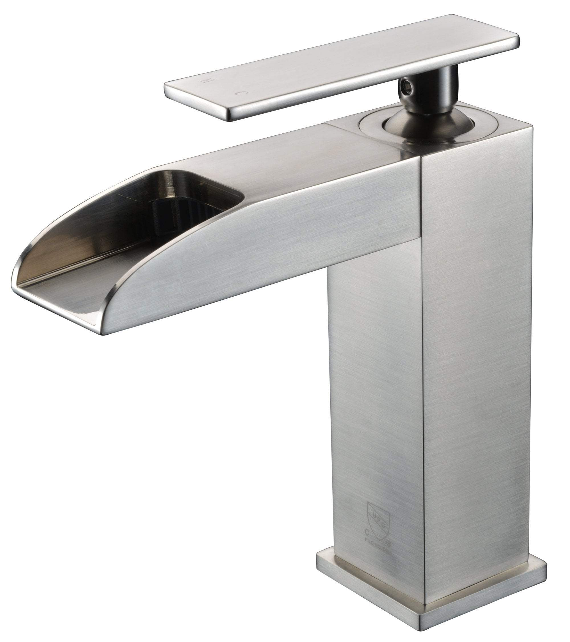 Brushed Nickel Single Hole Waterfall Bathroom Faucet