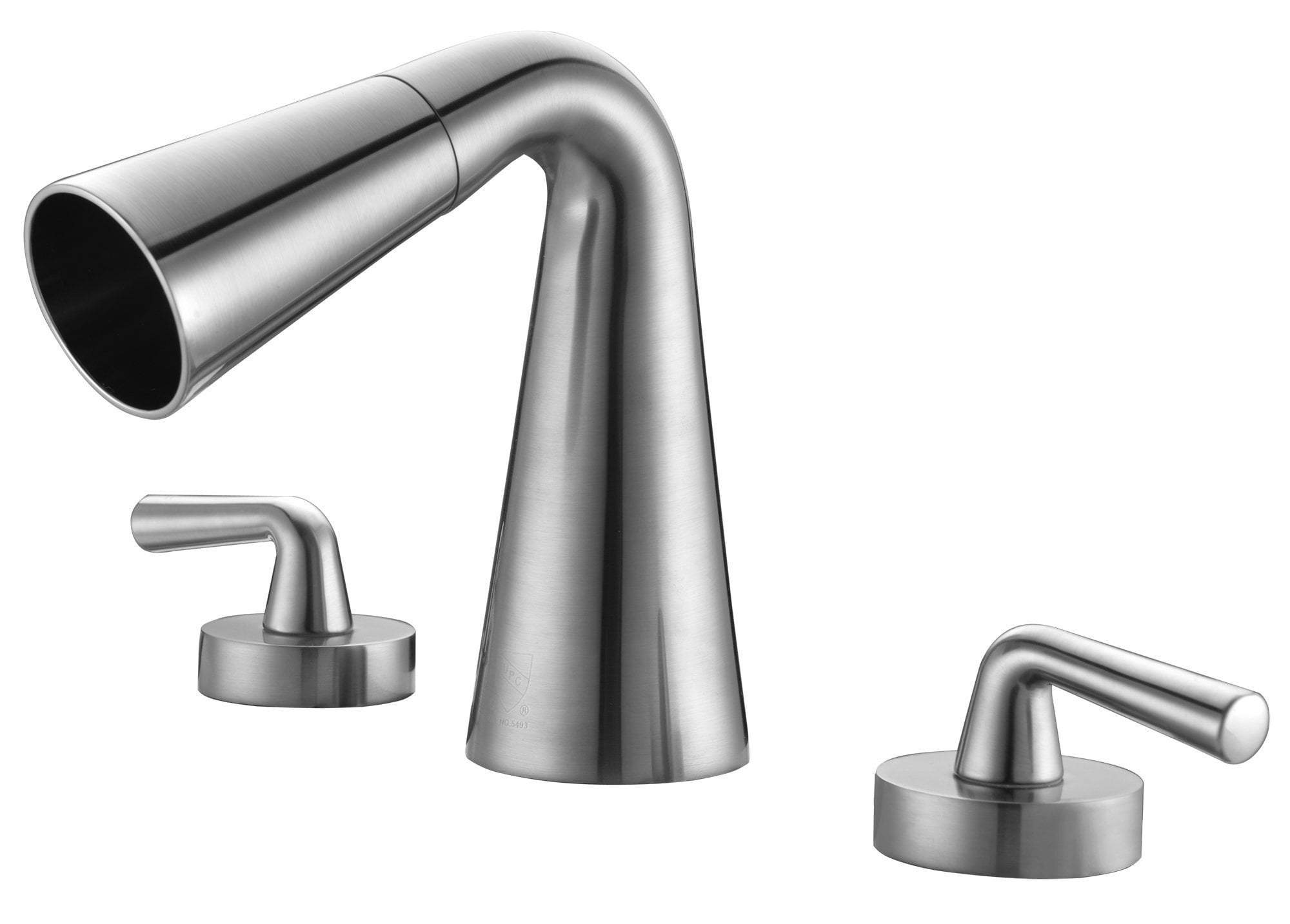 Brushed Nickel Widespread Cone Waterfall Bathroom Faucet