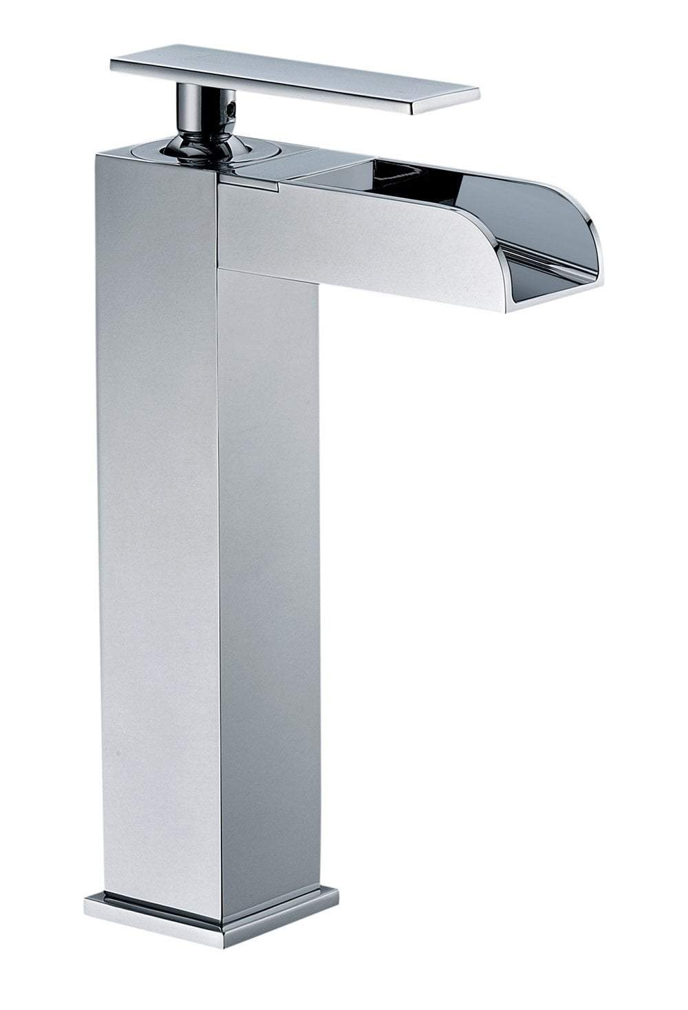 Image of: Polished Chrome Single Hole Tall Waterfall Bathroom Faucet Luxury Bath Collection