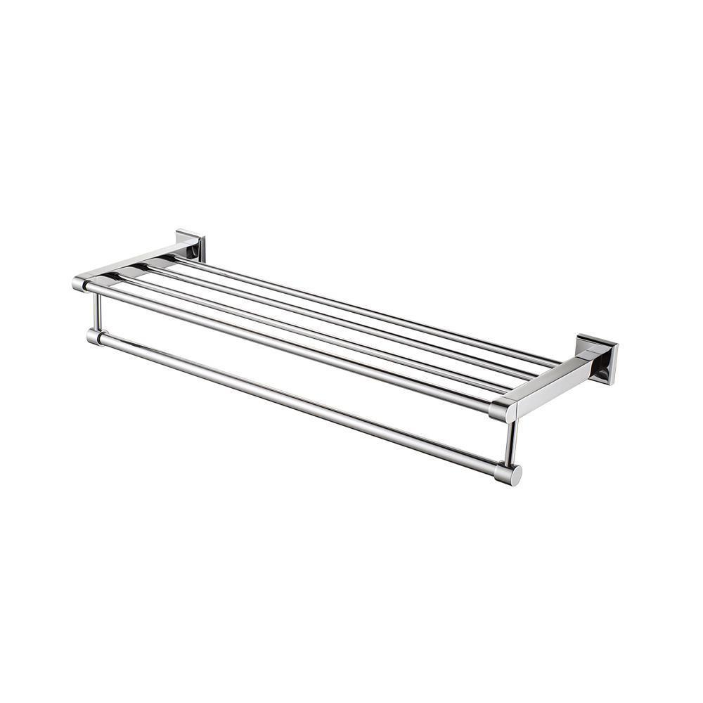 Polished Chrome 26 inch Towel Bar & Shelf Bathroom Accessory