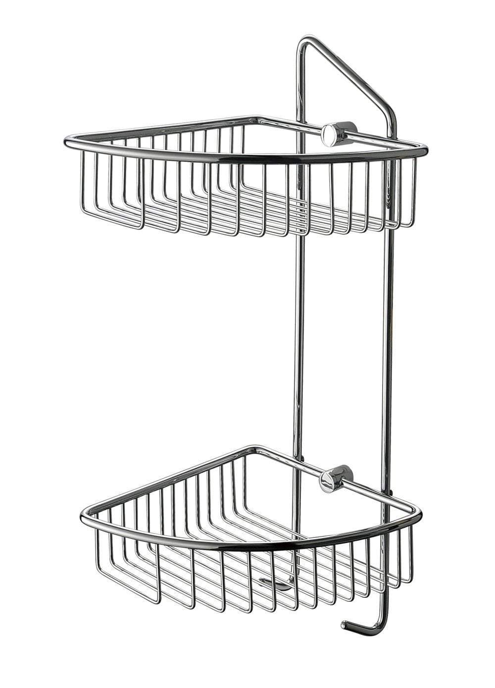 Polished Chrome Corner Mounted Double Basket Shower Shelf Bathroom Accessory