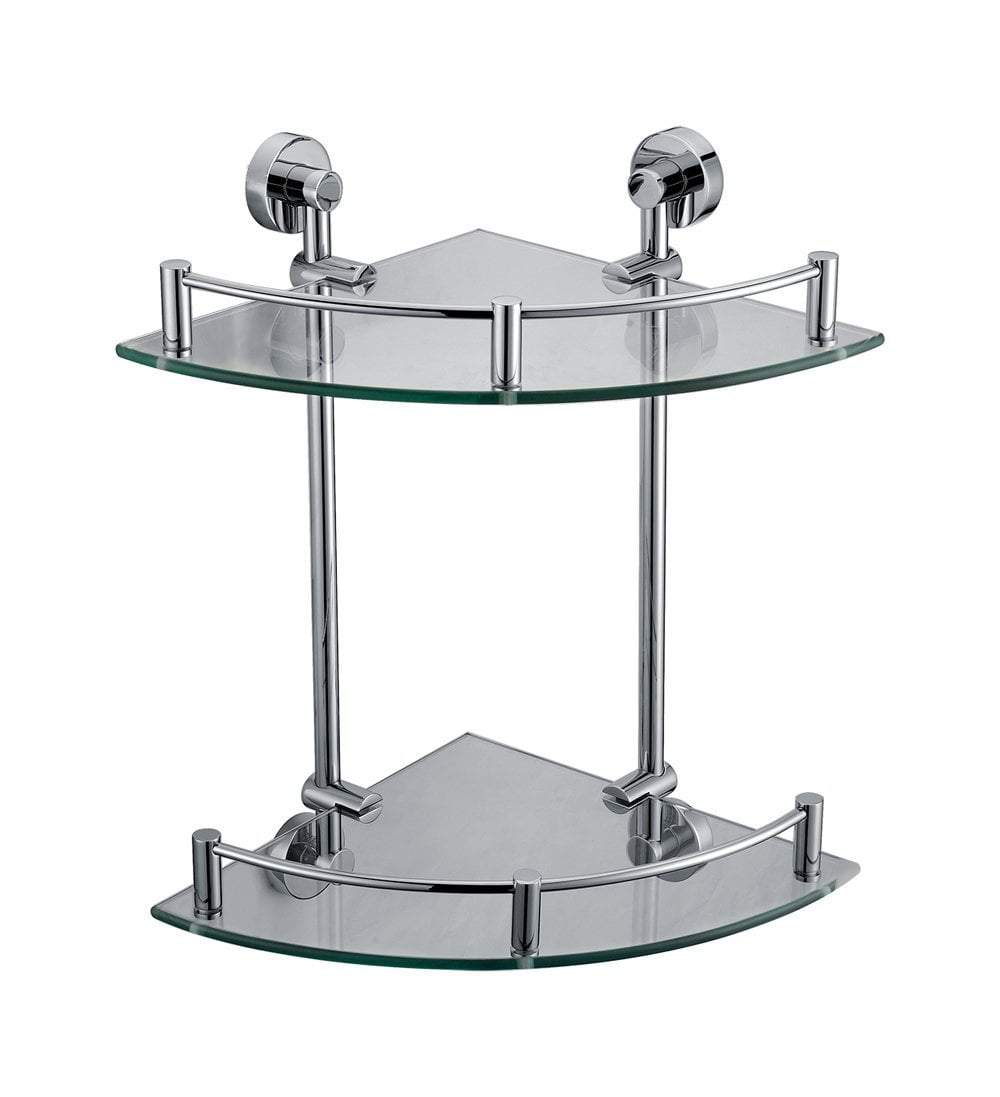 Polished Chrome Corner Mounted Double Glass Shower Shelf Bathroom Accessory
