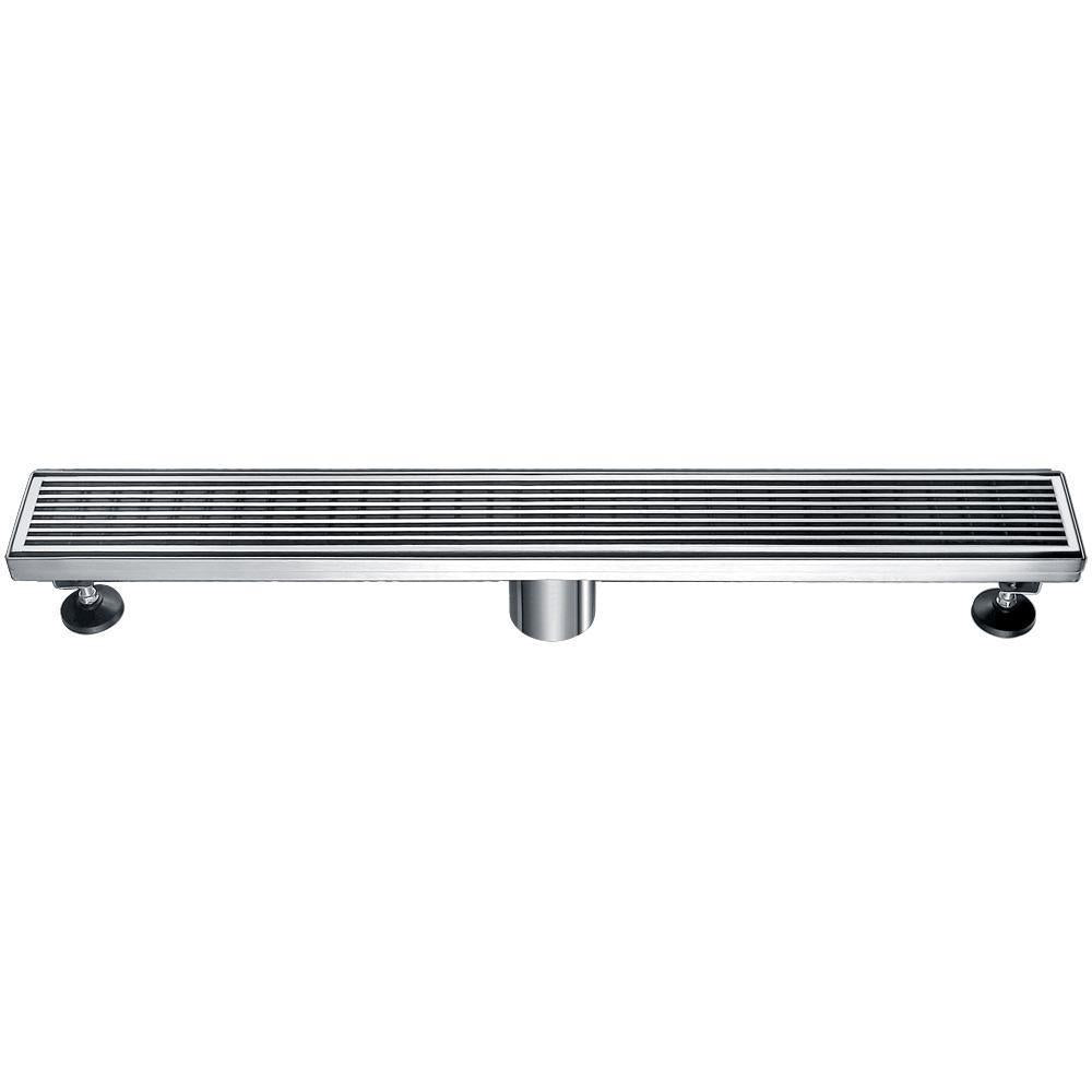 "24"" Modern Stainless Steel Linear Shower Drain with Groove Lines"