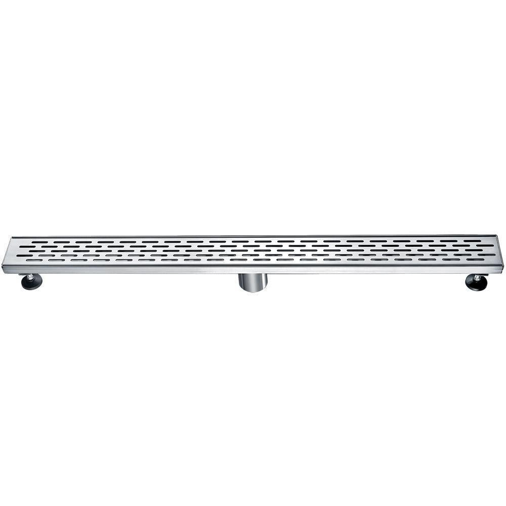 "32"" Modern Stainless Steel Linear Shower Drain with Groove Holes"