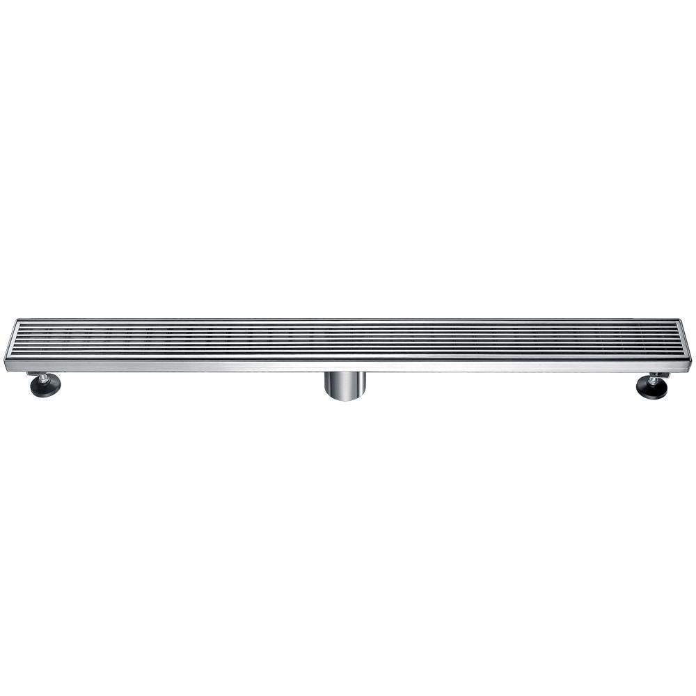"32"" Modern Stainless Steel Linear Shower Drain with Groove Lines"