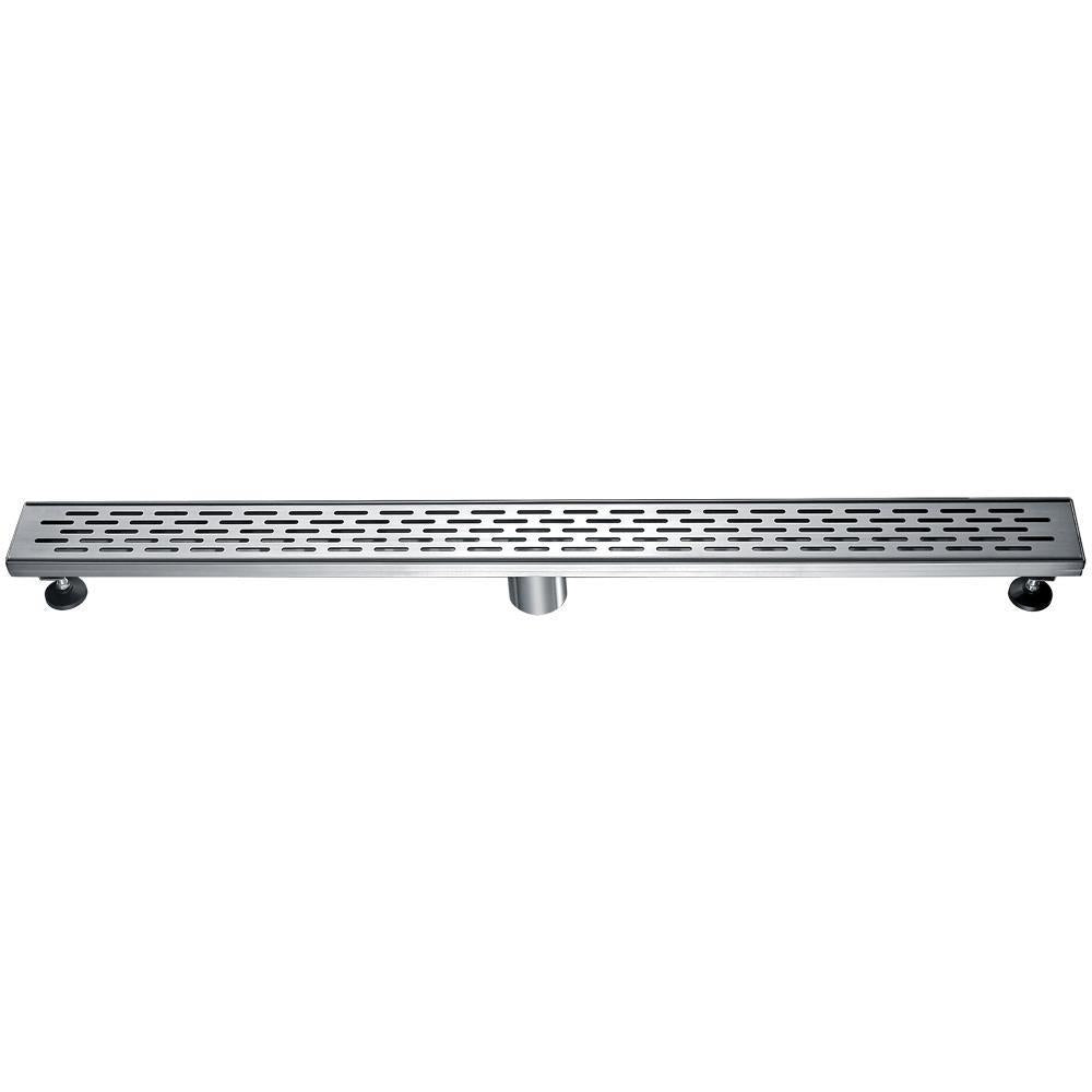 "36"" Modern Stainless Steel Linear Shower Drain with Groove Holes"