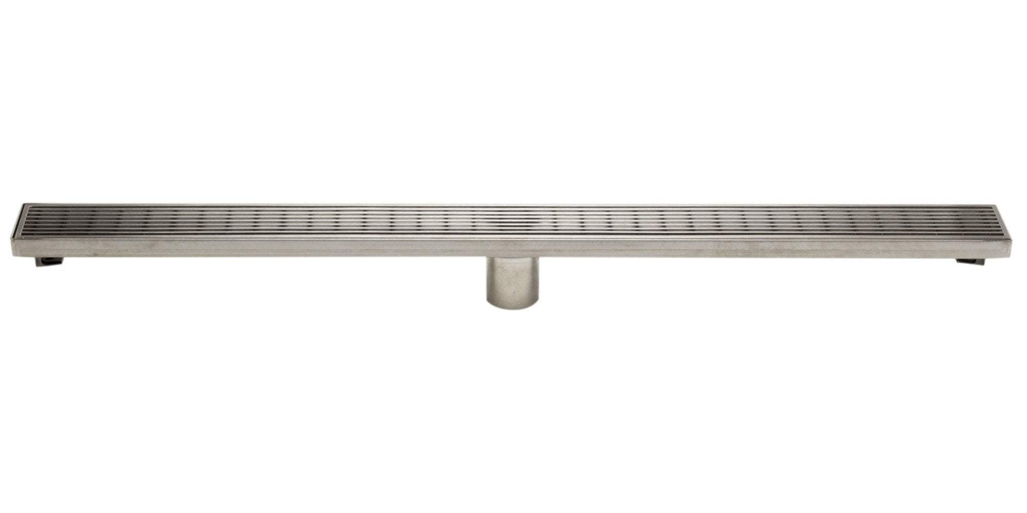 "36"" Modern Stainless Steel Linear Shower Drain with Groove Lines"
