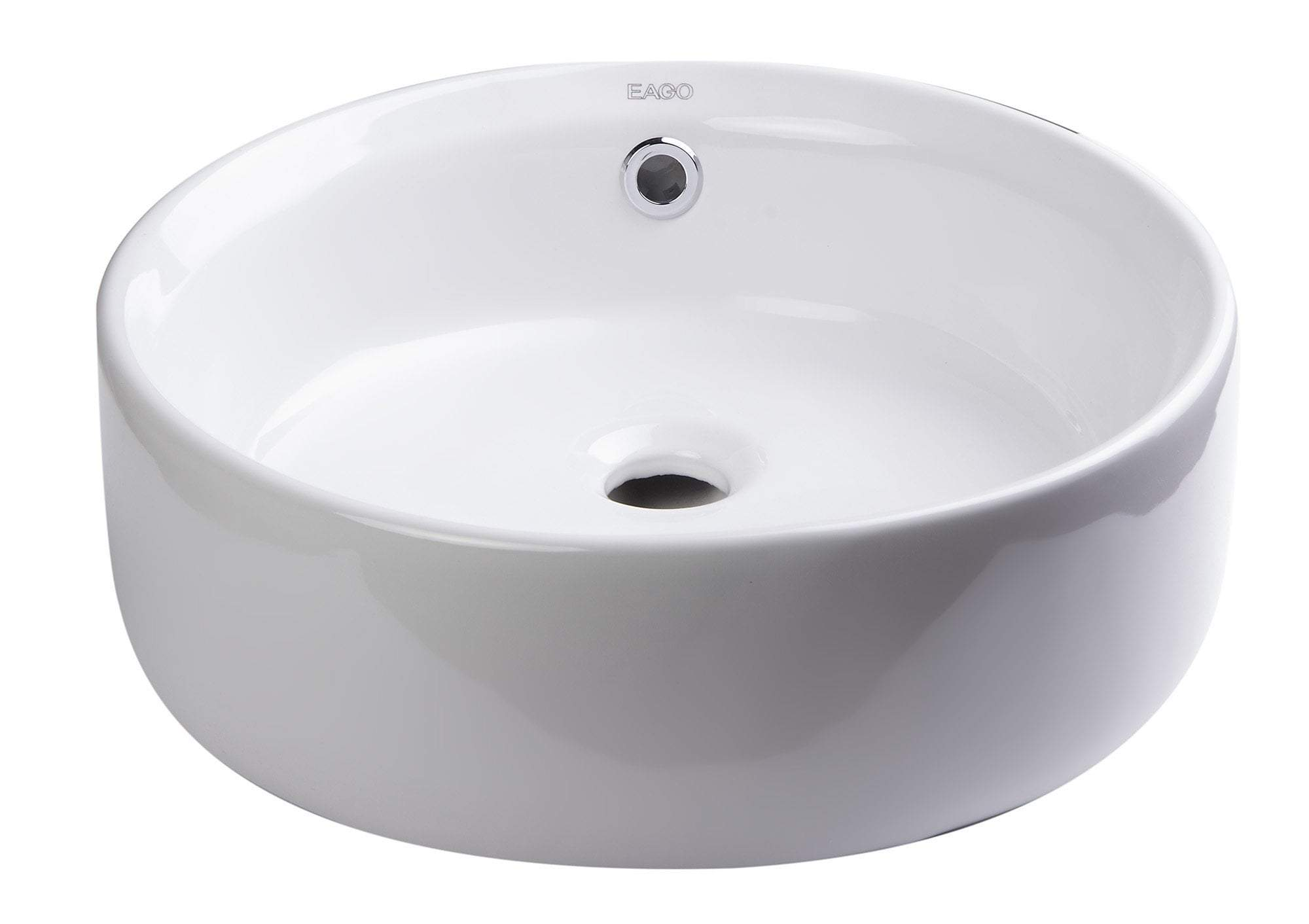 "16"" ROUND CERAMIC ABOVE MOUNT BATHROOM BASIN VESSEL SINK"