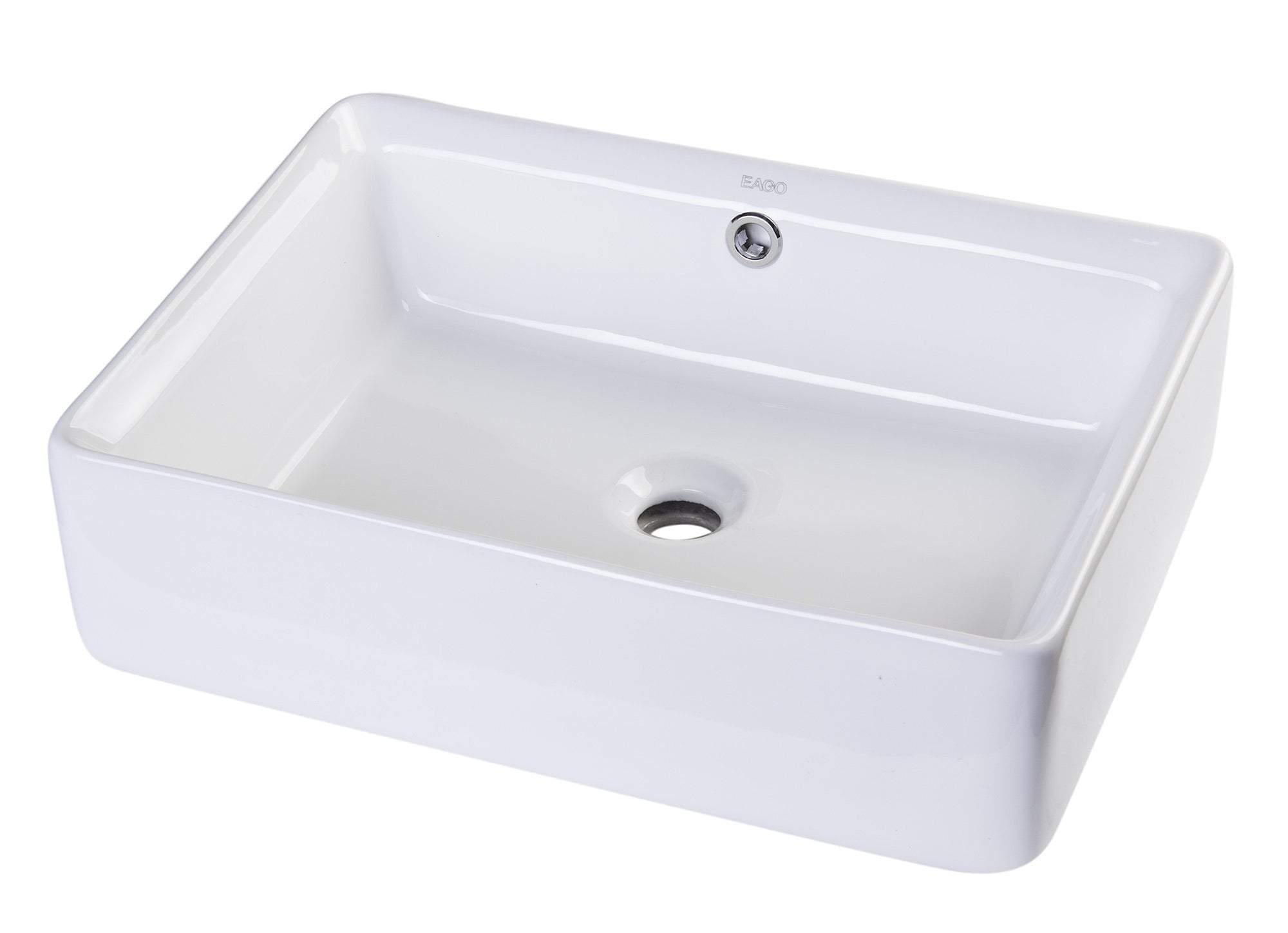 "20"" RECTANGULAR CERAMIC ABOVE MOUNT BASIN VESSEL SINK"