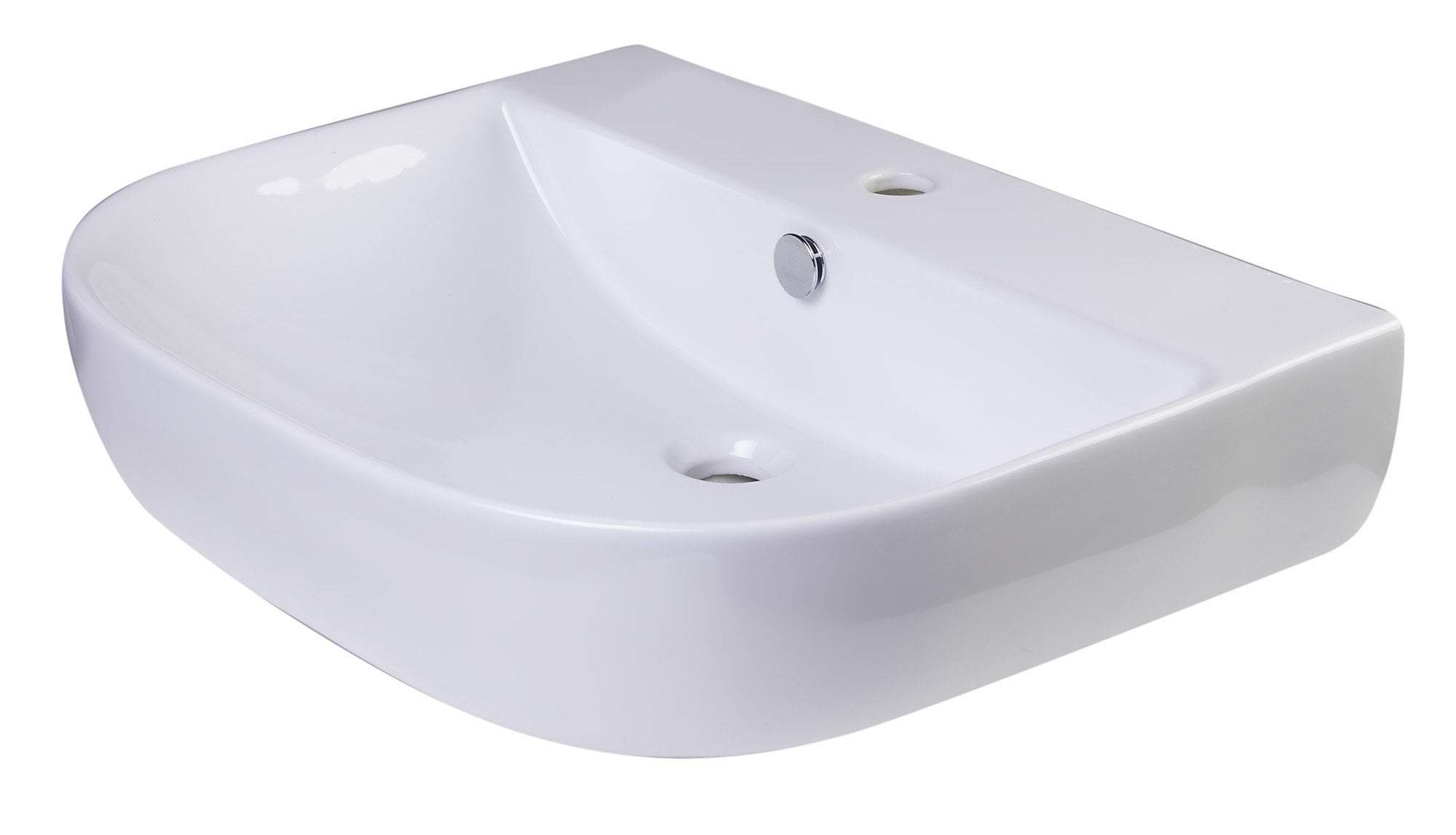 "24"" White D-Bowl Porcelain Wall Mounted Bath Sink"