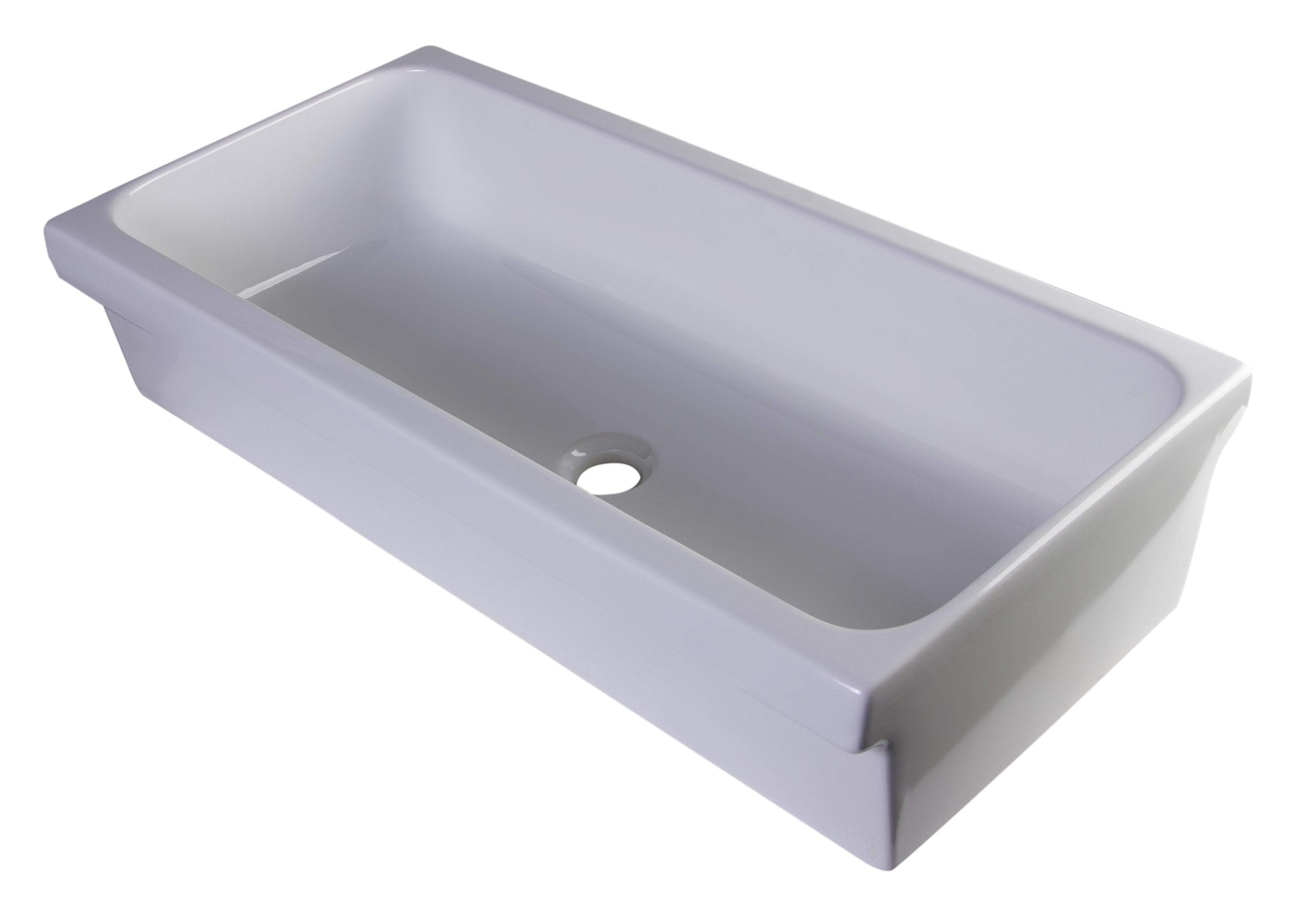 "36"" White Above Mount Porcelain Bath Trough Sink"
