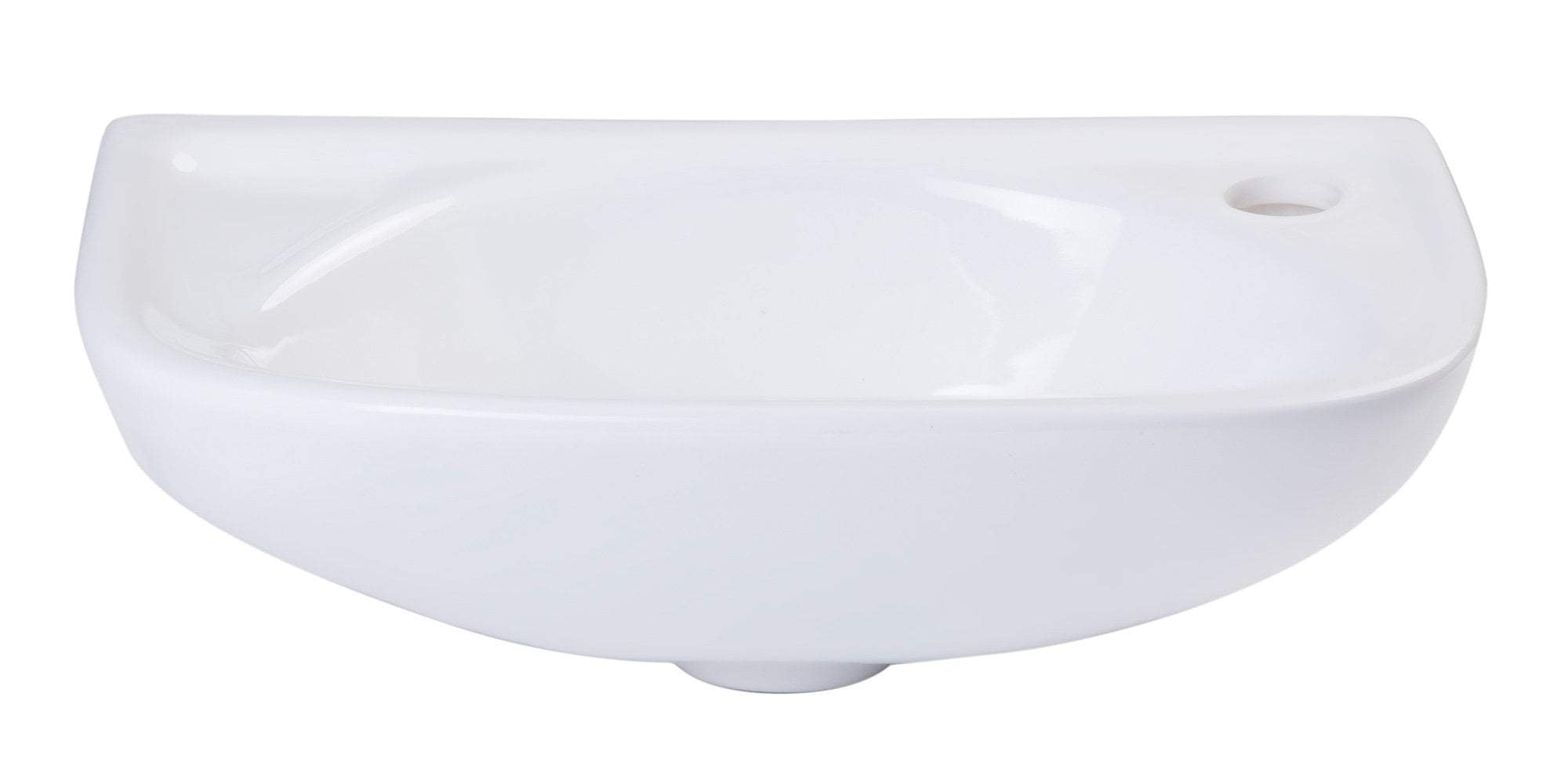 ALFI brand AB102 Small White Wall Mounted Porcelain Bathroom Sink Basin