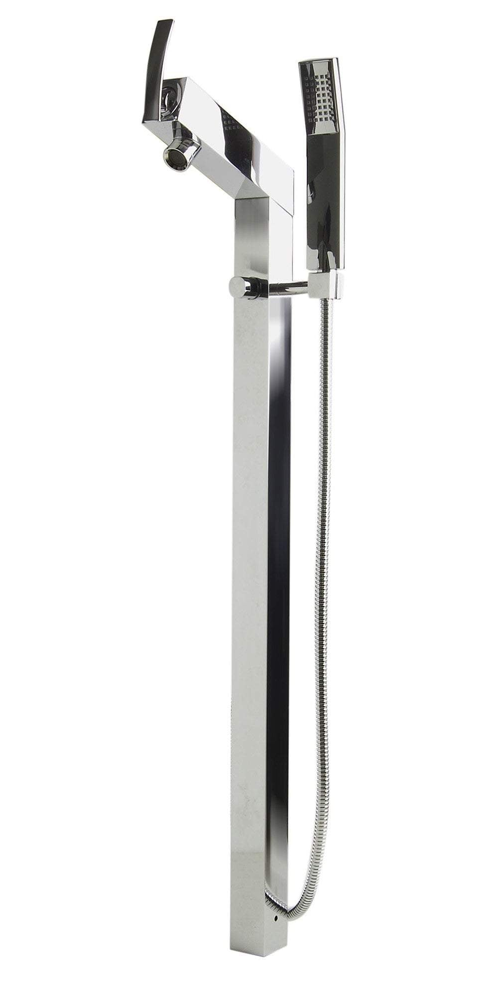 ALFI brand AB2728-PC Polished Chrome Floor Mounted Tub Filler + Mixer /w additional Hand Held Shower Head