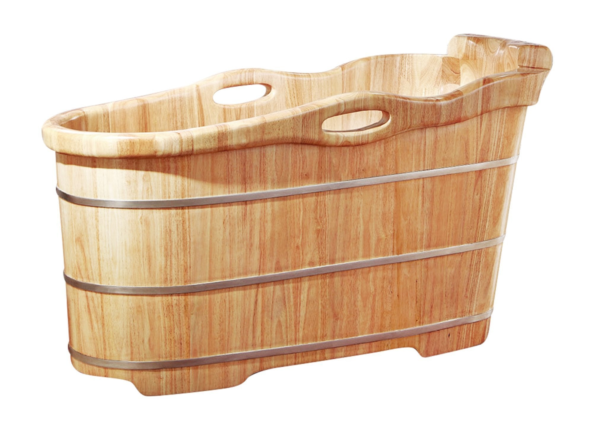 "57"" Free Standing Rubber Wooden Soaking Bathtub with Headrest"