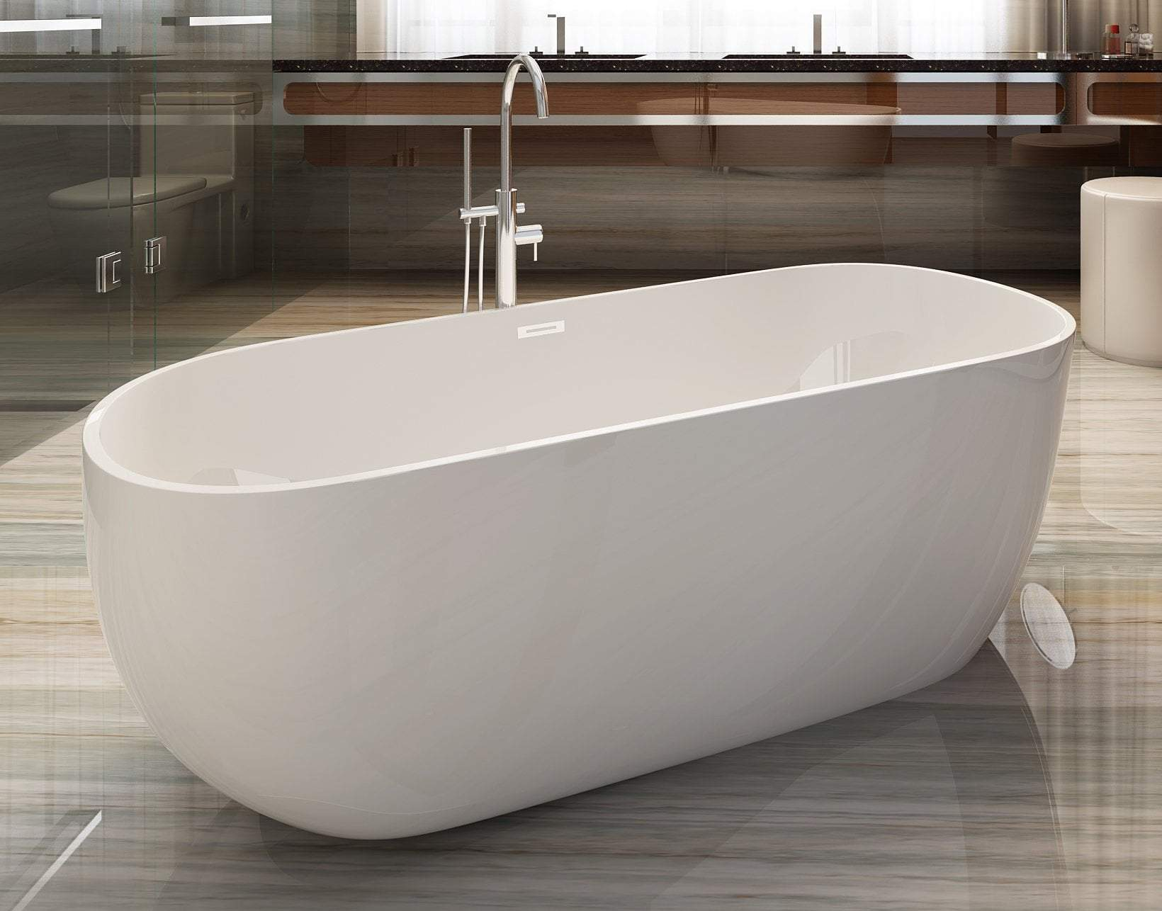 59 inch White Oval Acrylic Free Standing Soaking Bathtub