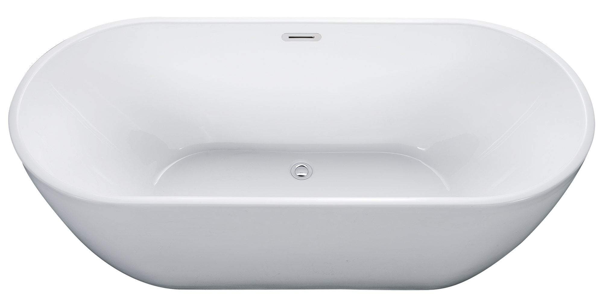 67 inch White Oval Acrylic Free Standing Soaking Bathtub