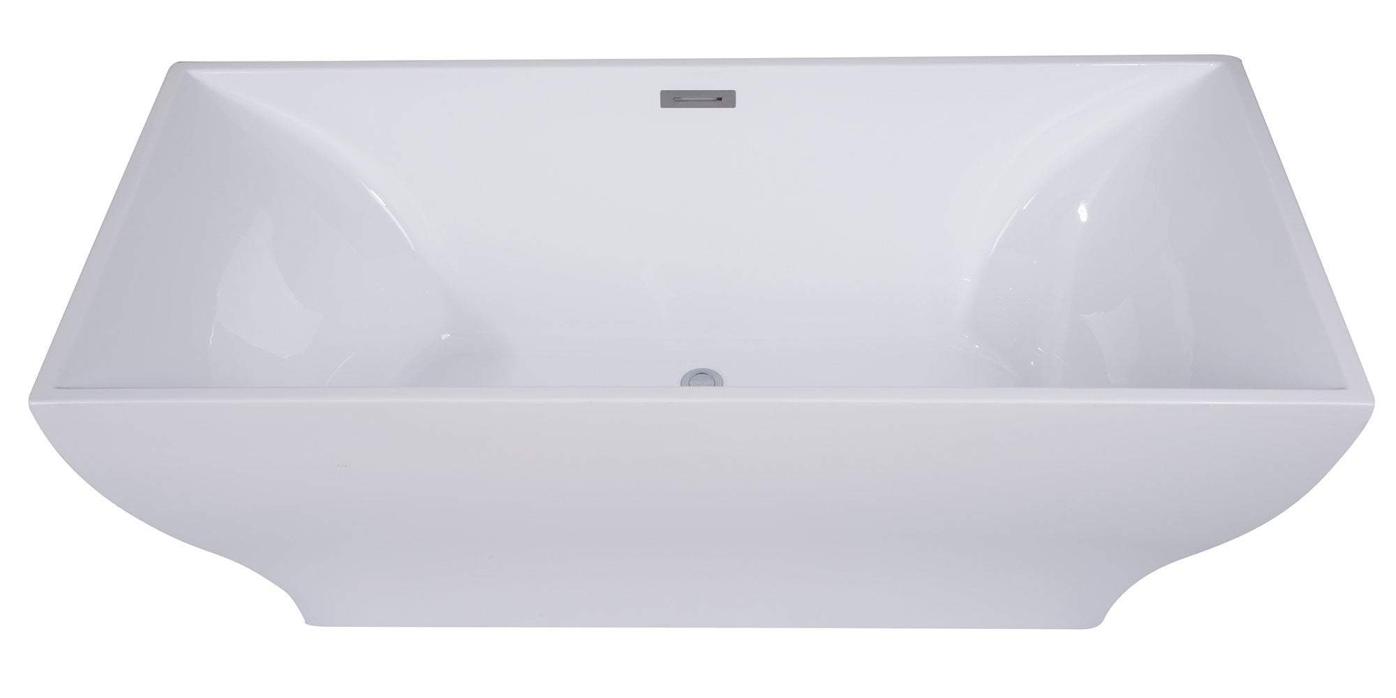 67 inch White Rectangular Acrylic Free Standing Soaking Bathtub
