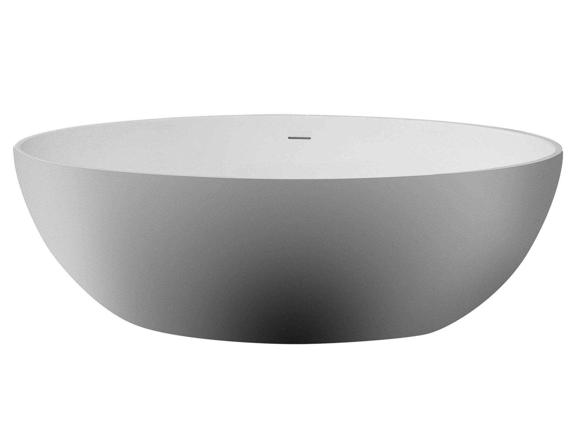 "67"" White Oval Solid Surface Smooth Resin Soaking Bathtub"