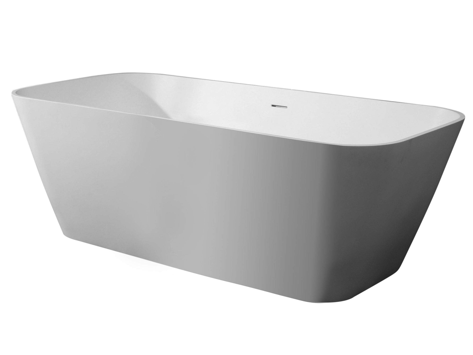 "67"" White Rectangular Solid Surface Smooth Resin Soaking Bathtub"