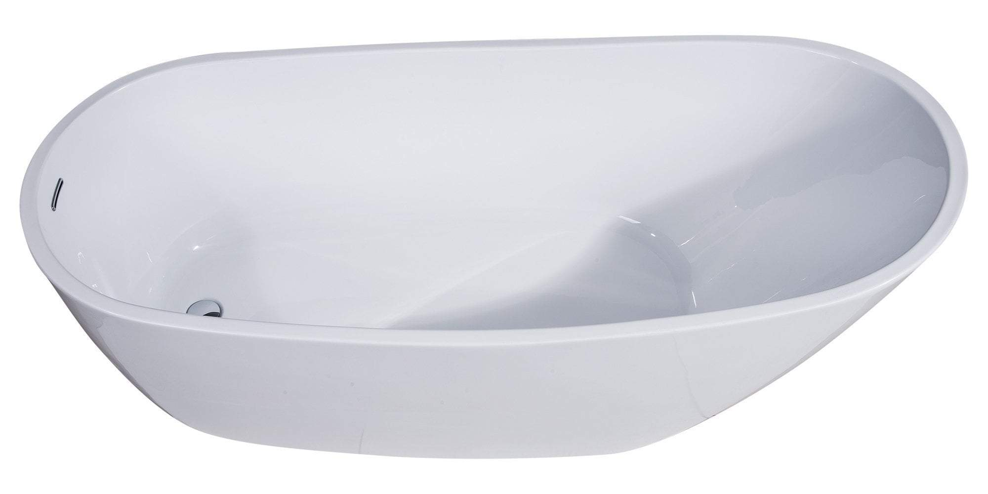 68 inch White Oval Acrylic Free Standing Soaking Bathtub