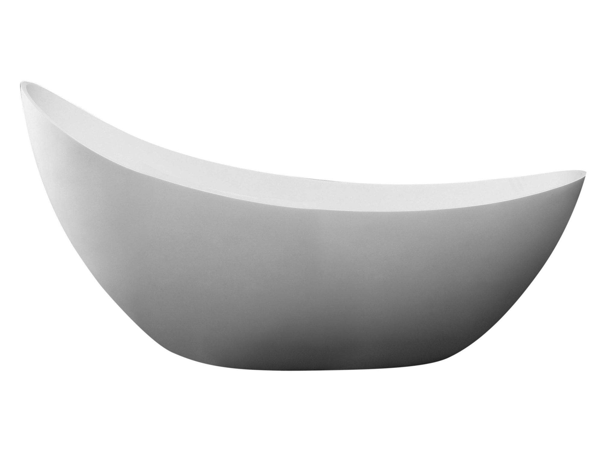 "73"" White Solid Surface Smooth Resin Soaking Slipper Bathtub"