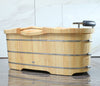 "ALFI 61"" Free Standing Oak Wood Bath with Cushion Headrest"