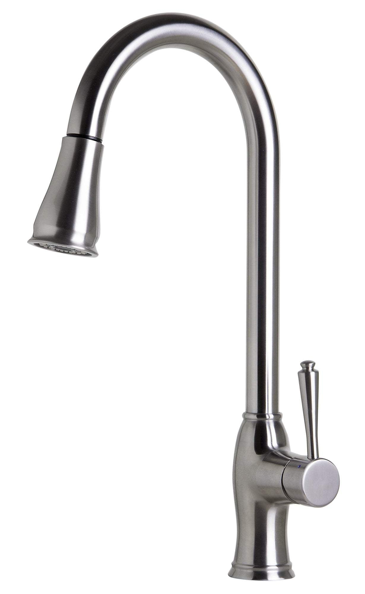 ALFI brand AB2043-BSS Traditional Solid Brushed Stainless Steel Pull Down Kitchen Faucet