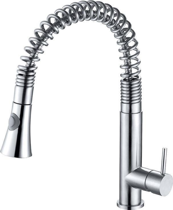 alfi solid stainless steel commercial spring kitchen faucet with pull down shower spray ab2032