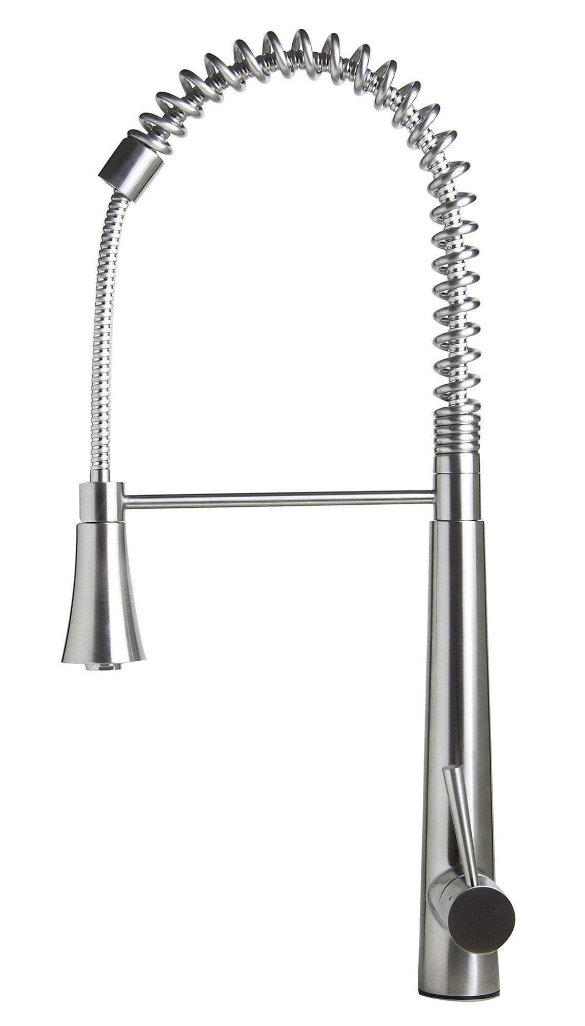 alfi solid stainless steel commercial spring kitchen faucet with pull down shower spray ab2039s