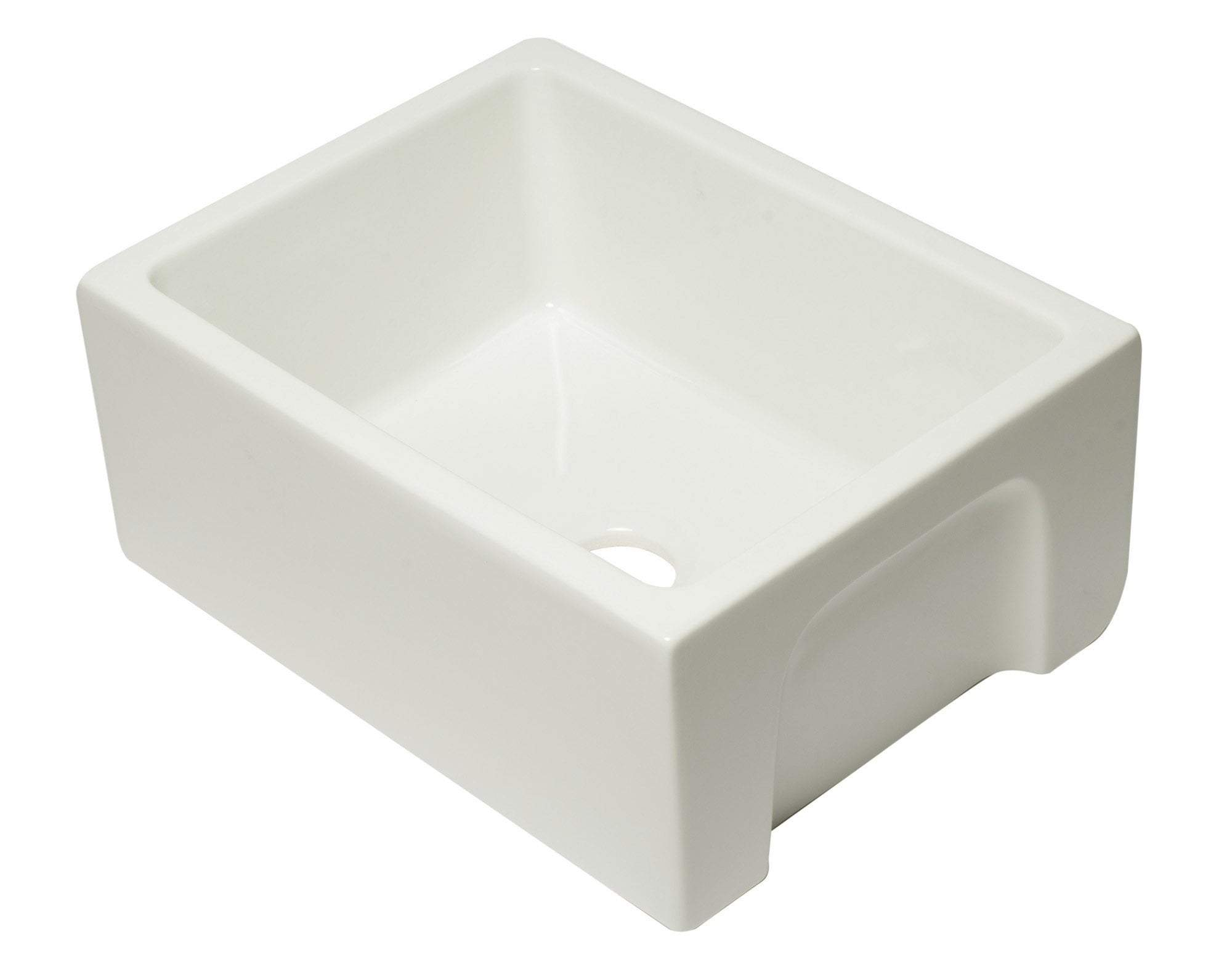 24 inch Biscuit Reversible Smooth / Fluted Single Bowl Fireclay Farm Sink