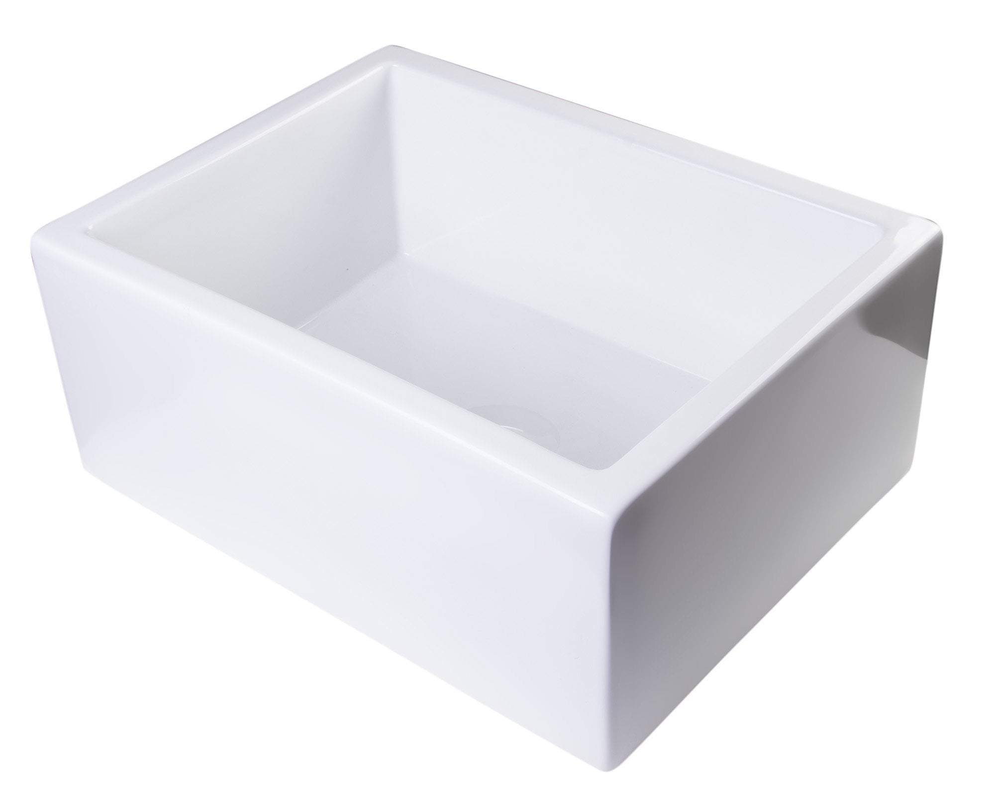 "24"" White Smooth Thick Wall Fireclay Single Bowl Farm Sink"