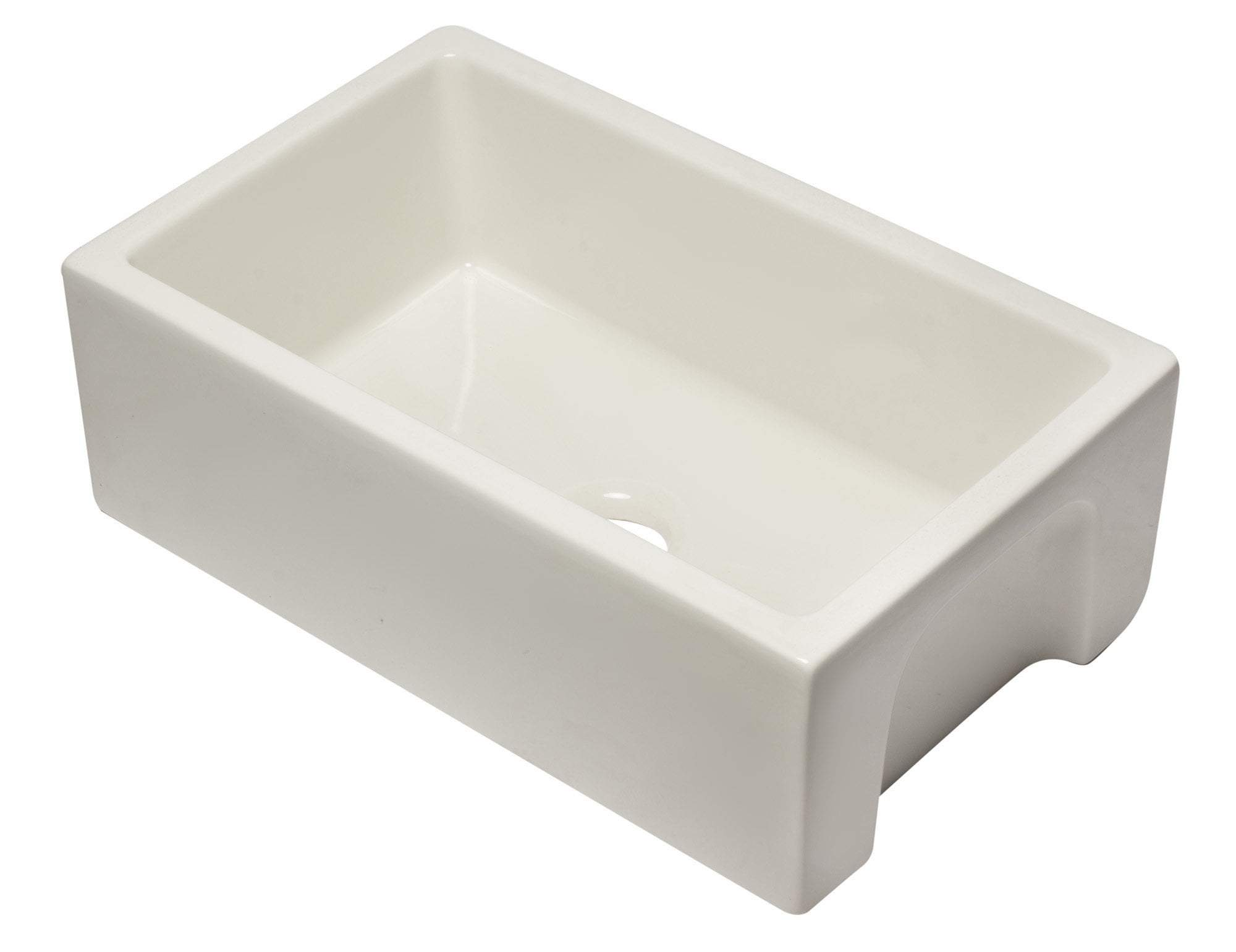 30 inch Biscuit Reversible Smooth / Fluted Single Bowl Fireclay Farm Sink