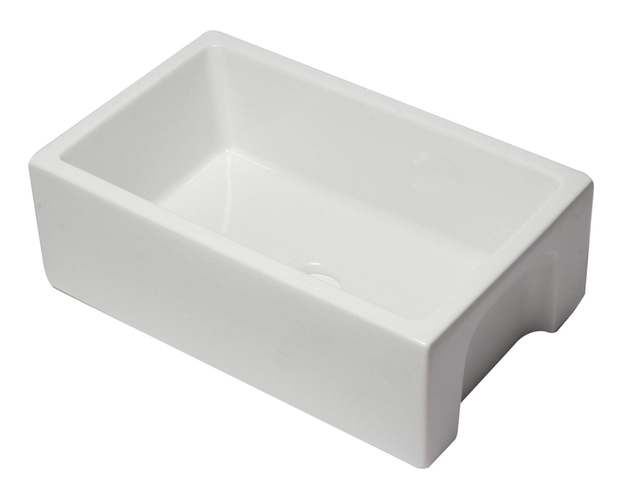 30 inch White Reversible Smooth / Fluted Single Bowl Fireclay Farm Sink